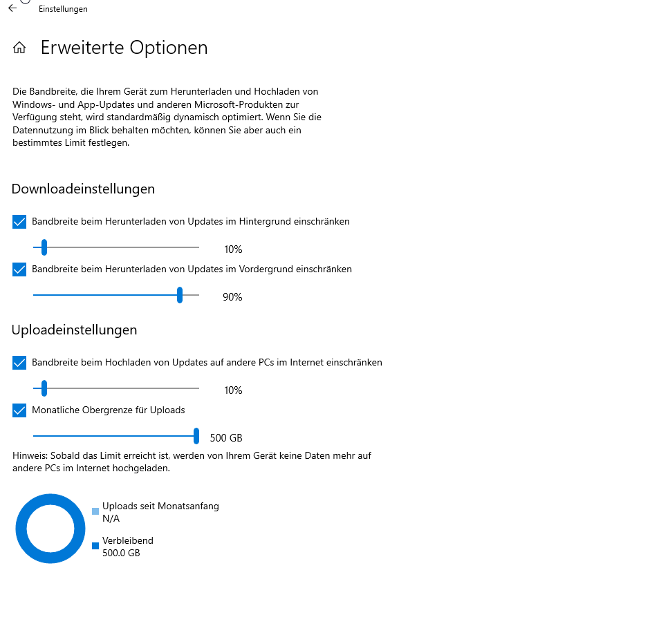 Windows 10 Updates Bandbreite optimieren